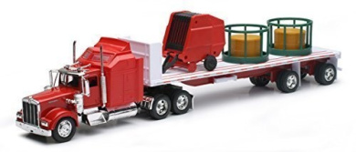 New Ray Toys Kenworth W900 with Round Hay & Feeder Toy Truck Collectible New in Box by NewRay Toys
