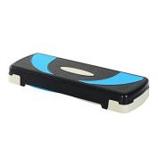 Soozier 80cm Adjustable Aerobic Fitness Platform Stepper - Black/Light Blue/Grey
