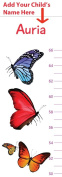 Butterfly Growth Chart Personalised For Boys and Girls - Height Chart for Babies and Kids - Add Your Child's Name