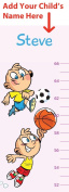 Personalised Growth Chart For Boys - Cartoon Sports - Height Chart for Babies and Kids - Add Your Child's Name