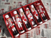 6 per set hand made wooden nutcrackers, soldier nutcrackers in traditional Snowing Christmas suit, 5 inch/13 cm soldier nutcrackers , christmas threee decoration
