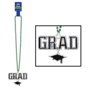 Green Bead Necklace with Grad Medallion