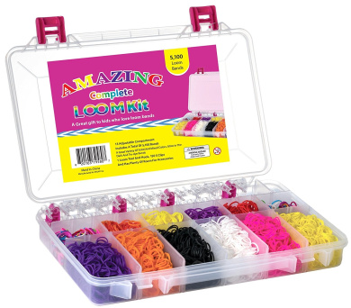 Amazing Loom Bands Complete Collection Organiser Storage Kit, Includes Loom Tool and Hook + 5,100 Bands +150 Clips a Variety of 12 Beautiful Colours - Including Tie-dye and Glow in Dark Ruber Bands  .   Twistz Bandz Bracelet Rubber Band Kit)