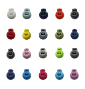 25Pcs Mixed Colour Plastic Round Toggle Spring Loaded Stop Cord Locks End