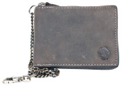 Large grey-brown zip-around genuine leather wallet Born to be Wild with a chain and carabinee