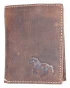 Natural strong genuine leather wallet with a horse
