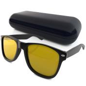 New Wayfarer Style Black Computer Glasses – Yellow Anti Glare Lens – Eye Strain Reducing for Men + Women – Block + Filter Blue Light Video Gaming + Reading – Black Frame Nerd Glasses
