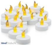 Ideal Products Box of 24 LED candles (+6 for free) battery operated (included), with romantic yellow light effect similar to that of wax candles. Perfect for the outdoors, as they cannot be blown off and also for indoors