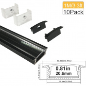 "LED Aluminium Profile with Clear Cover, Lightingwill 10 Pack 3.3Ft/1M U Shape Flush Mount (Section Size:0.40"" x 1.18"") Anodized Black Channel System for _20mm LED Strip Lights with Caps + Clips U03"