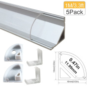 "LED Aluminium Channel with Clear Cover, Lightingwill 5 Pack 3.3Ft/1M V Shape Corner Mounted (Section Size:0.63"" x 0.63"") Anodized Silver Channel System for _12mm LED Strip Lights with Caps + Clips V02"