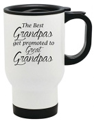 The Best Grandpas Get Promoted to Great Grandpas 410ml Stainless Travel Mug by Moonlight Printing