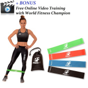 Resistance Loop Bands Set of 4 PrimaFit Premium Exercise Bands for Women and Men, Light to Extra Heavy, Best for Home and Outdoor Fitness Workout, Yoga, Pilates - BONUS FREE Online Video Training, Eco-Friendly, Made From Natural Latex Material, Carry B ..