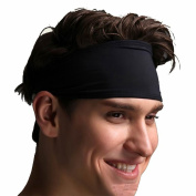 Unisex Sport Headband Women Men Sweat Head Band Elastic Hair Band Black Accessory Sport Non-Slip Sweatband For Yoga Pilates Running Fitness Crossfit Gym