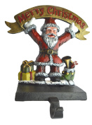Lulu Decor, Cast Iron Christmas Stocking Holder Santa with Merry Christmas banner