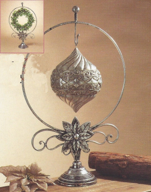 Beautiful 70cm Silver Metal Wreath Ornament Hanger with Base Poinsettia and Scroll Work ~ Christmas Holiday Decor