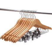 PAG Natural Solid Wood Clothes Hangers with Clips Bulk Wooden Hangers for Skirt Suit Pants, Space Saving, 20 Pack, White