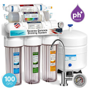 Express Water 10 Stage Home Drinking Filtration System Alkaline pH+ Reverse Osmosis 100 GPD RO Membrane Clear Housing Modern Chrome Faucet Pressure Gauge Residential Under Sink Purification ROALK10MCG