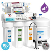 Express Water 10 Stage Home Drinking Water Filtration System Alkaline Mineral pH+ Reverse Osmosis 100 GPD RO Membrane Modern Chrome Faucet Pressure Gauge Residential Under Sink Purification ROALK10MG