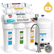 Express Water 6 Stage Deionization + Reverse Osmosis Filtration System 100 GPD RO Membrane Pressure Gauge DI Resin Mixed Bed Ion Exchange Filter Residential Home Under Sink Water Purification RODI10MG