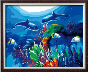 Diy oil painting, paint by number kit- Dolphin Love 16*50cm .