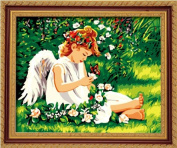 Diy oil painting, paint by number kit- Lovely angel 16*50cm .