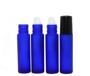 6PCS 10ml 0.34oz Empty Refillable Blue Glass Perfumes Essential Oil Roll on Bottles with Plastic Roller Balls Lip Gloss Balms Roller Bottle Vial Container