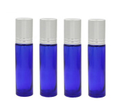 6PCS 10ml 0.34oz Empty Refillable Blue Glass Roll on Bottles with Plastic Roller Balls Perfumes Essential Oil Lip Gloss Balms Roller Bottle Vial Container