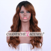 Chantiche Realistic Looking Body Weave Wigs uk High Quality Ombre Brown Wig Black Rooted Synthetic Hair Wigs with Fringe Shoulder Length 50cm