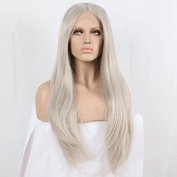 Arimika 60cm Long Platinum Silver Grey Natural Heat Safe Synthetic Soft Bouncy Layered Lace Front Wig Decent Parting Space Transparent Lace