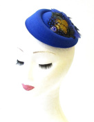 Royal Blue Green Pheasant Feather Pillbox Hat 1940s Fascinator Vintage Hair 1316 *EXCLUSIVELY SOLD BY STARCROSSED BEAUTY*
