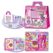 Hot Focus Decorate Your Own Tote Bag Floral Print with Flower Fling Secret Diary with Pen and Sticker Set