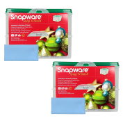 Two Snapware 2-Layer Ornament Keepers w/ Two Blue Microfiber Suede Low-lint Polishing Cloths