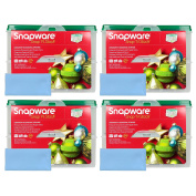 Four Snapware 2-Layer Ornament Keepers w/ Four Blue Microfiber Suede Low-lint Polishing Cloths