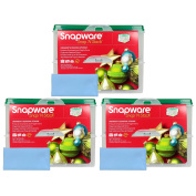 Three Snapware 2-Layer Ornament Keepers w/ Three Blue Microfiber Suede Low-lint Polishing Cloths