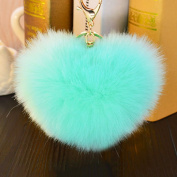 Interesting Soft Rabbit Fur Heart Shaped Pompom Ball Charm Car Keychain Handbag Pendant Key Ring
