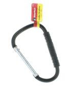 Jumbo Black Carabiner Comfort Rubber Handle Spring Snap Great Neck