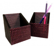 Bamboo Pencil Remote Control Holder Organiser 3.75 x 3.12 Brown Pink