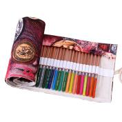 Hflove Unisex Pencil Bag Canvas 48 Hole Canvas Roll Pen Bag Ancient Coins Drawing Pencils Case
