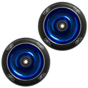 1080 Stunt Scooter Wheels 100mm Solid Alloy Core (Pair) - Blue/Black
