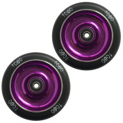 1080 Stunt Scooter Wheels 100mm Solid Alloy Core (Pair) - Purple/Black