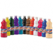Dixon : Ready-to-Use Tempera Paint, 470mls, 12 Assorted Colours per Set -:- Sold as 2 Packs of - 12 - / - Total of 24 Each