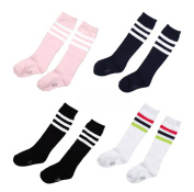 Eforstore 4 Pairs Kids Girl Cotten Bootie Knee High Long Socks for 6-7 Years old