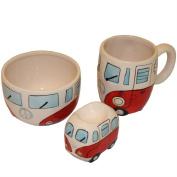 Retro Campervan Breakfast Set - Bowl Egg Cup & Mug - Red