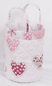 Love2Sleep SMALL NURSERY NAPPY TOYS STORAGE ROUND BASKET BAG - PINK HEARTS