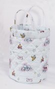 Love2Sleep SMALL NURSERY NAPPY TOYS STORAGE ROUND BASKET BAG - ELEPHANTS