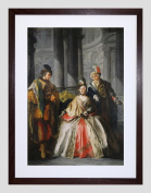 PAINTING LE LORRAIN THREE FIGURES DRESSED FOR MASQUERADE FRAMED PRINT F97X12770