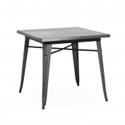 Design Lab MN Dreux Steel Dining Table, Dark Gunmetal