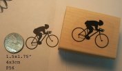 Bicycle rider rubber stamp P56