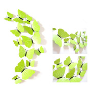 Union Tesco 12 Pieces 3D Butterfly Wall Stickers Fashion Design DIY Wall Decoration House Decoration Babyroom Decoration,Green