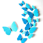 Union Tesco 12 Pieces 3D Butterfly Wall Stickers Fashion Design DIY Wall Decoration House Decoration Babyroom Decoration,Blue